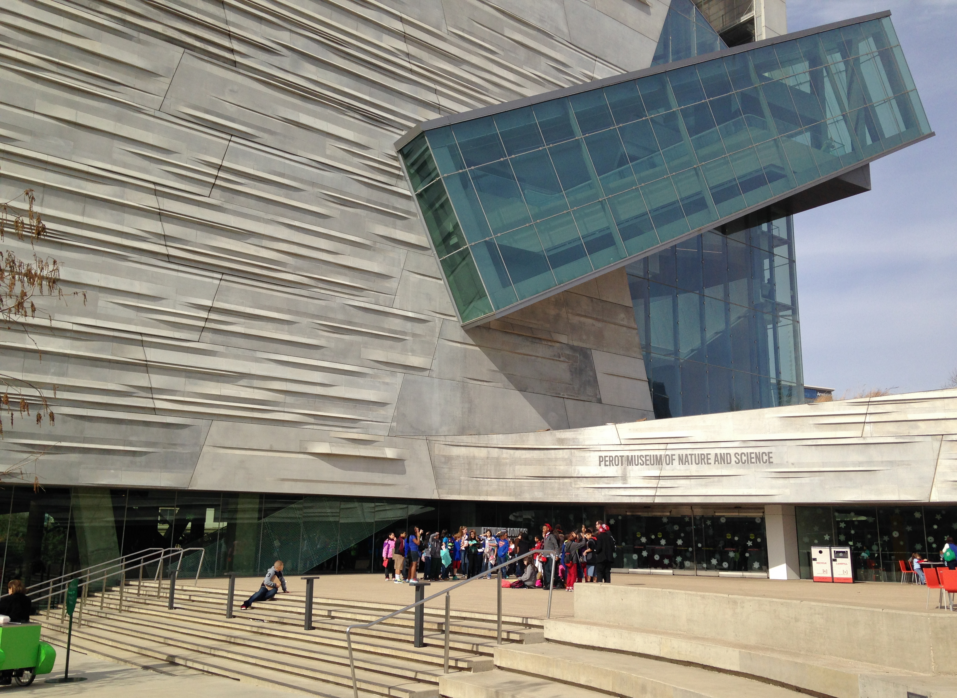 Entry plaza of Perot Museum of Nature and Science.